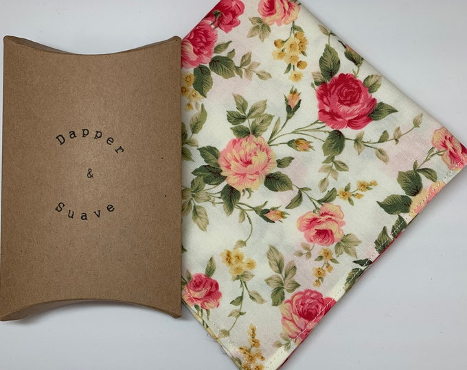 Men's Floral Pocket Square Wedding Handkerchief