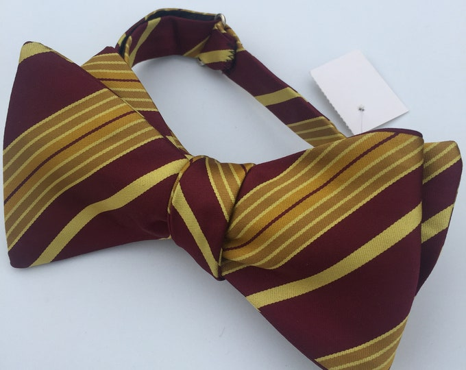Burgundy Striped Vintage Self Tie Bow Tie