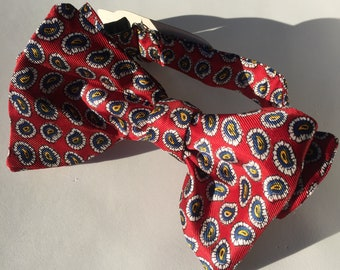 Red Paisley Vintage Self Tie Bow Tie