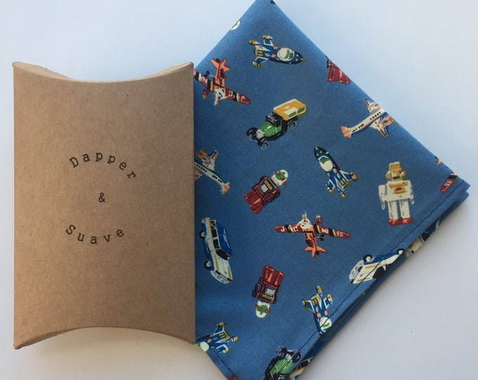 Blue Robots and Vehicles Print Pocket Square Wedding Handkerchief