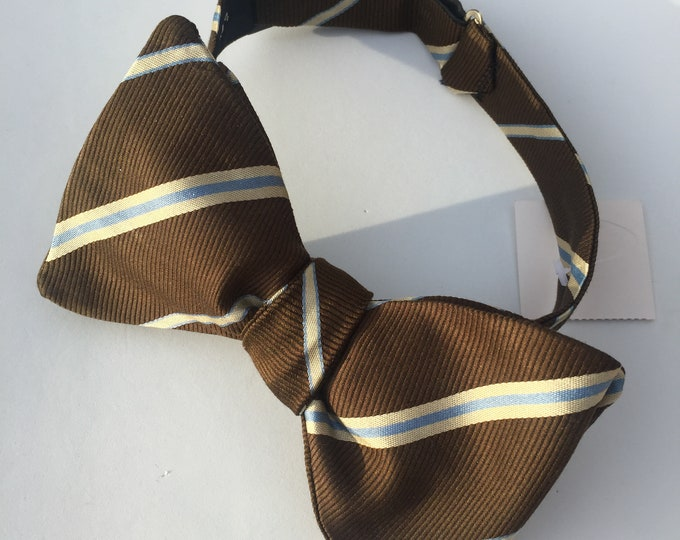 Brown Striped Vintage Self Tie Bow Tie