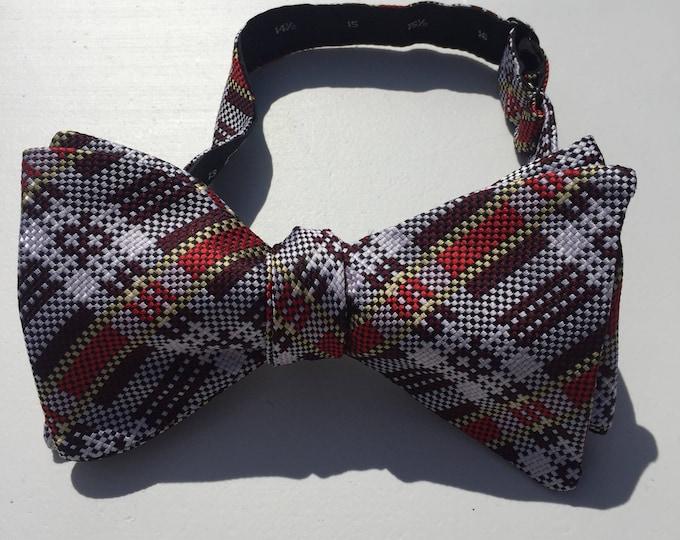 Red Plaid Check Vintage Self Tie Bow Tie