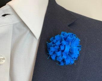 Teal Blue Boutonniere Lapel Flower Flower Lapel Pin Wedding