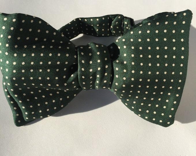 Green White Spot Vintage Self Tie Bow Tie