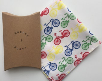 Bicycle Bike Print White Pocket Square Wedding Handkerchief