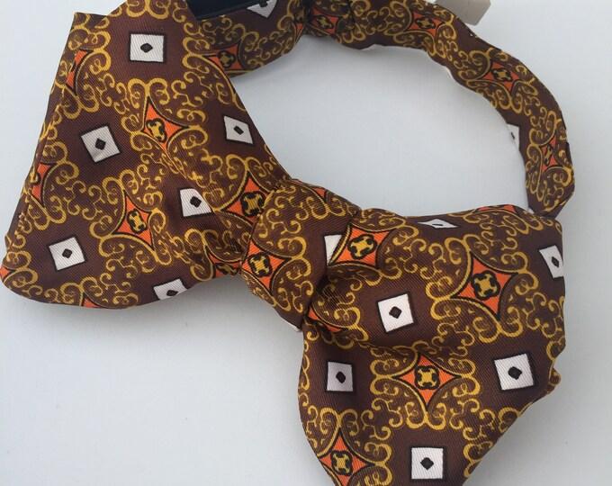 Brown Pattern Vintage Self Tie Bow Tie