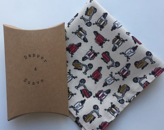 Men's Cream Moped Print Pocket Square Wedding Handkerchief