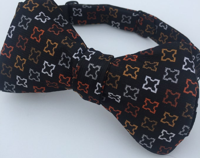 Black Orange Pattern Vintage Self Tie Bow Tie