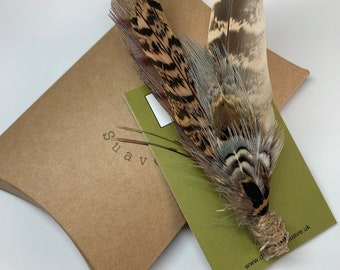 Feather Lapel Pin Feather Boutonniere Pheasant Feathers