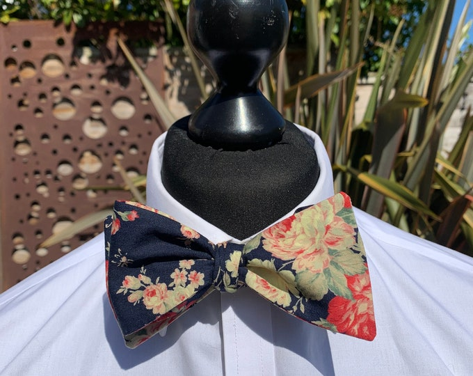 Men's Navy Floral Bow Tie - available as self tie or ready tied. Matching pocket square available