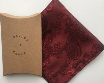 Red Paisley Pocket Square Wedding Handkerchief