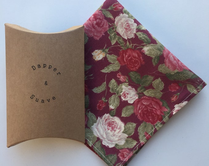 Men's Wine Floral Pocket Square Wedding Handkerchief