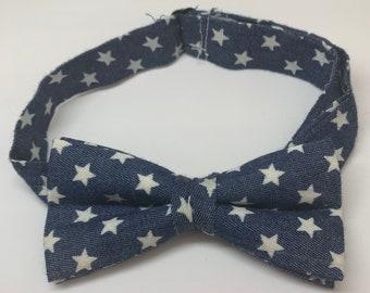 Blue Star Print Ready Tie Bow Tie