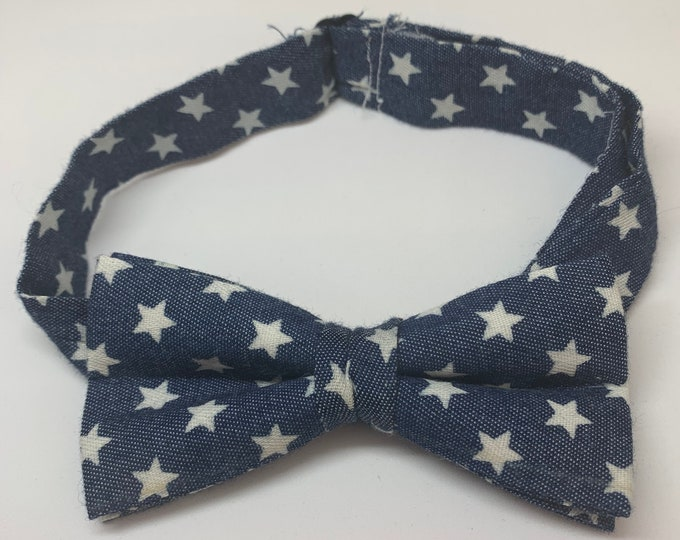 Blue Star Print Ready Tie Bow Tie