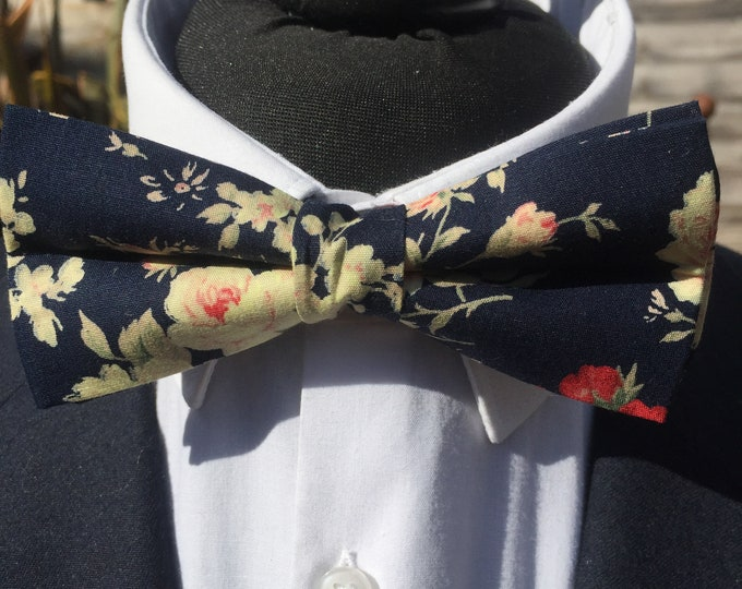 Navy Floral Botanical Print Ready Tie Bow Tie