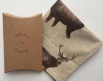 Stag Pocket Square Wedding Handkerchief