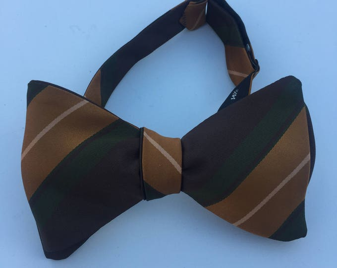 Green Striped Vintage Self Tie Bow Tie