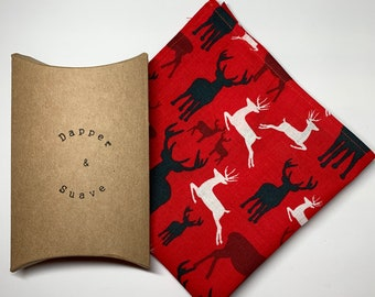 Men's Christmas Red Stag Pocket Square Wedding Handkerchief