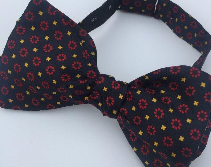 Silk Blue Red Circles Vintage Self Tie Bow Tie