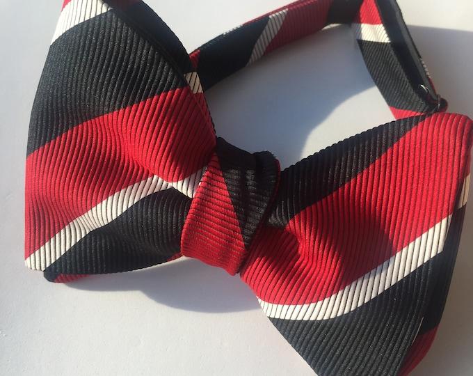 Red Black Stripe Vintage Self Tie Bow Tie