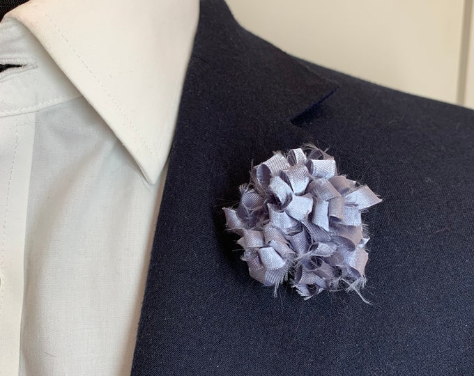 Silver Boutonniere Lapel Flower Flower Lapel Pin Wedding