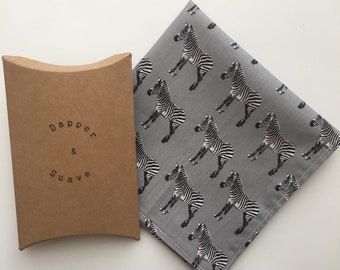 Grey Zebra Print Pocket Square Wedding Handkerchief