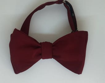 Burgundy Vintage Self Tie Bow Tie