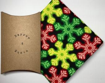 Men's Christmas Neon Snowflake Pocket Square Wedding Handkerchief