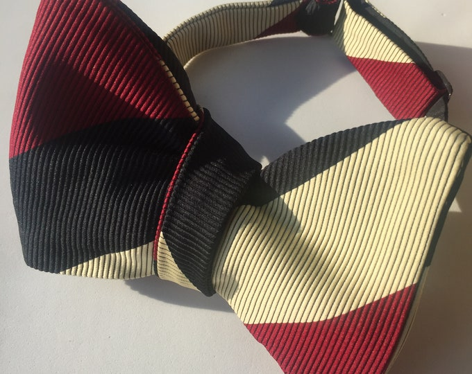 Burgundy Stripe Vintage Self Tie Bow Tie