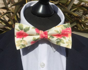Pink Cream Rose Print Ready Tie Bow Tie