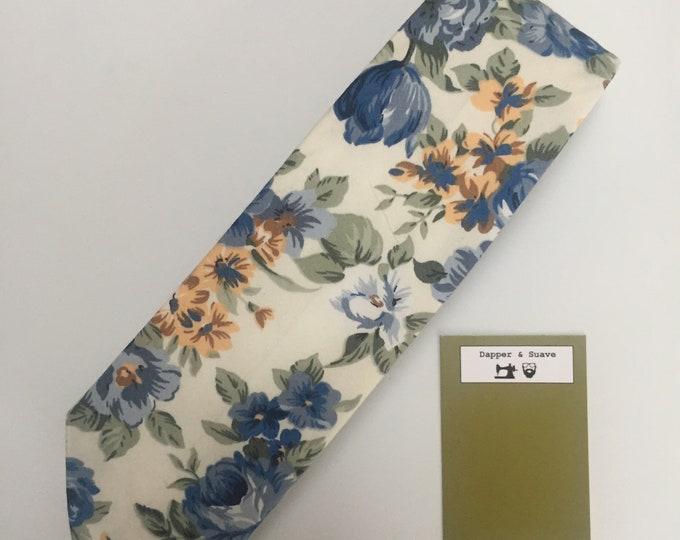 Featured listing image: Cream Floral Neck Tie Wedding Tie