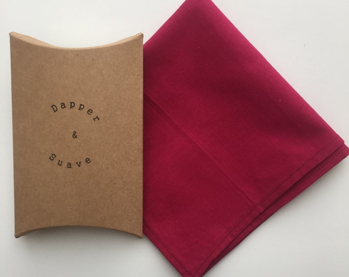 Men's Dark Pink Pocket Square Wedding Handkerchief