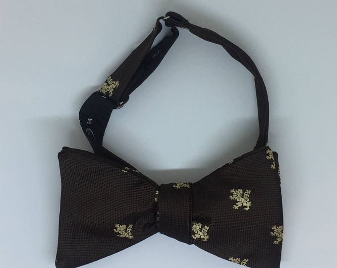 Brown Cream Lion Vintage Self Tie Bow Tie