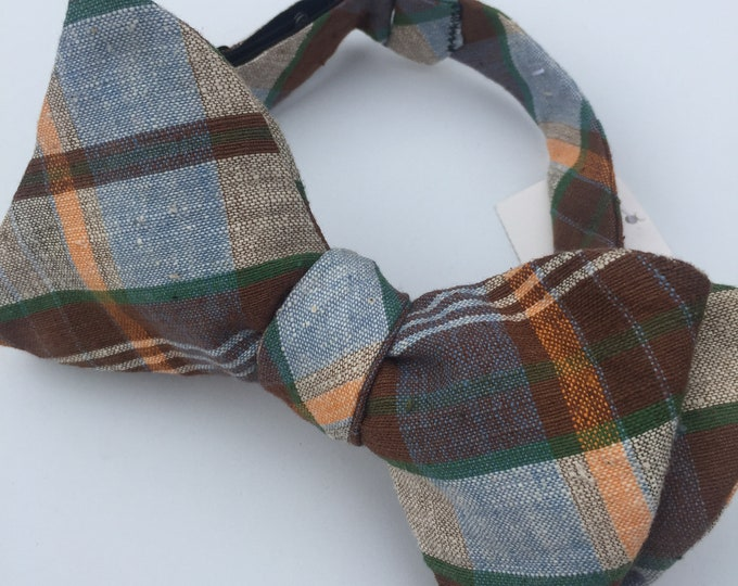 Brown Plaid Check Vintage Self Tie Bow Tie