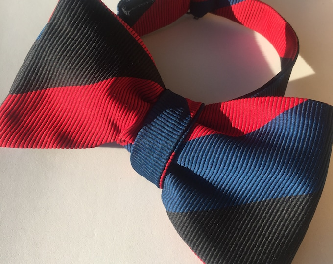 Red Stripe Vintage Self Tie Bow Tie