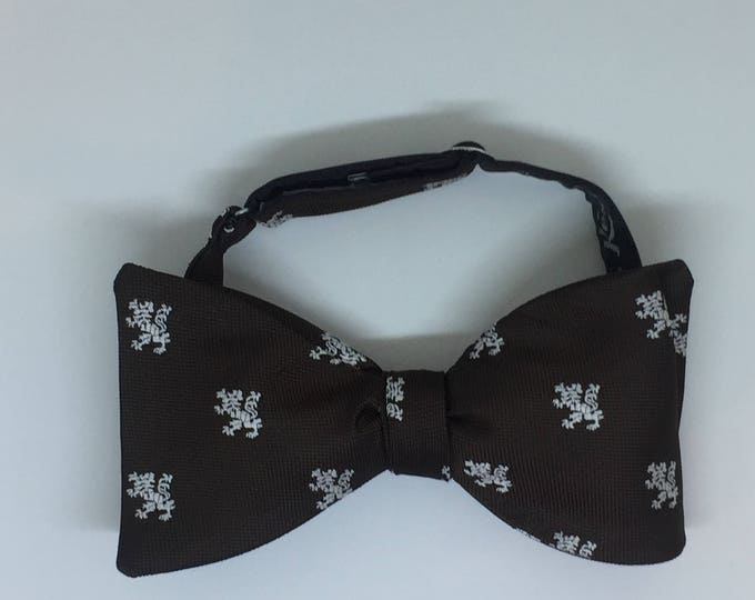 Brown White Lion Vintage Self Tie Bow Tie