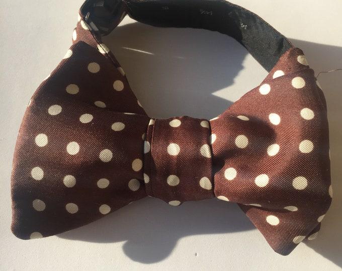 Brown White Spot Vintage Self Tie Bow Tie