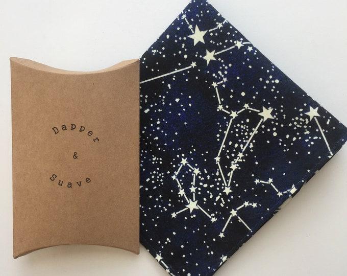 Navy Space and Stars Print Pocket Square Wedding Handkerchief