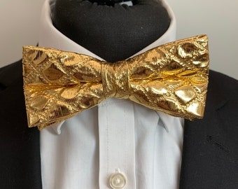 Men's Gold Bow Tie - available ready tied