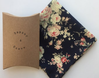 Men's Navy Floral Pocket Square Wedding Handkerchief - bow tie also available