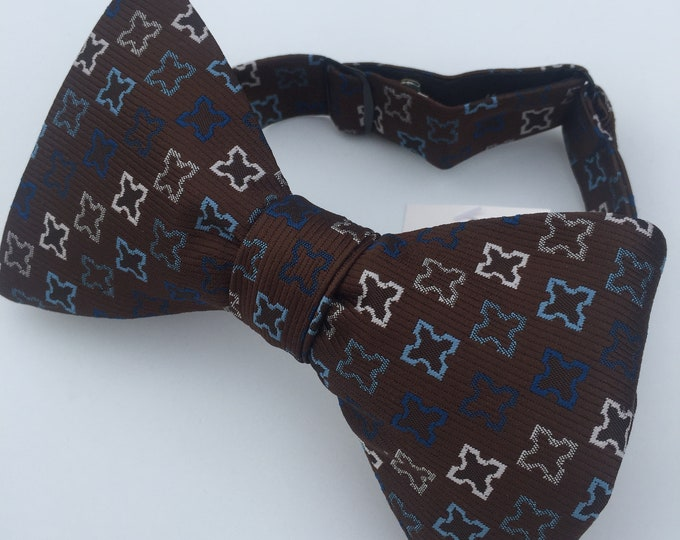 Brown Blue Pattern Vintage Self Tie Bow Tie