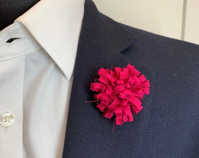 Dark Pink Boutonniere Lapel Flower Flower Lapel Pin Wedding