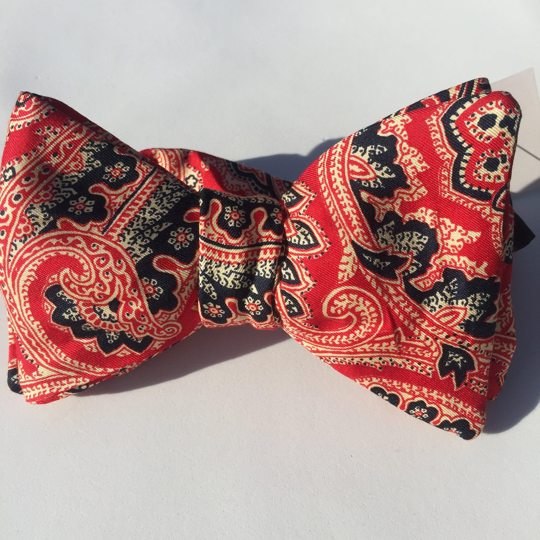 052b9d94dacf Red Paisley Vintage Self Tie Bow Tie. 1