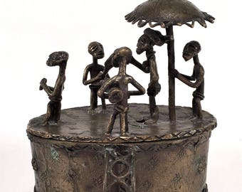 African Ashanti Tribal Brass Bronze Lost Wax Cast KUDUO Lidded Vessel Container Sculpture Vintage Antique King Chief