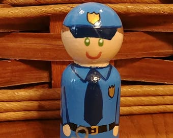 Police Officer Peg People Doll Montessori Waldorf Learning