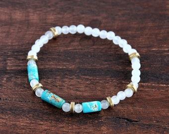 Bracelet en pierre : Turquoise Nevada, White Jade