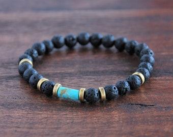 Bracelet en pierre : Turquoise Nevada, Lave