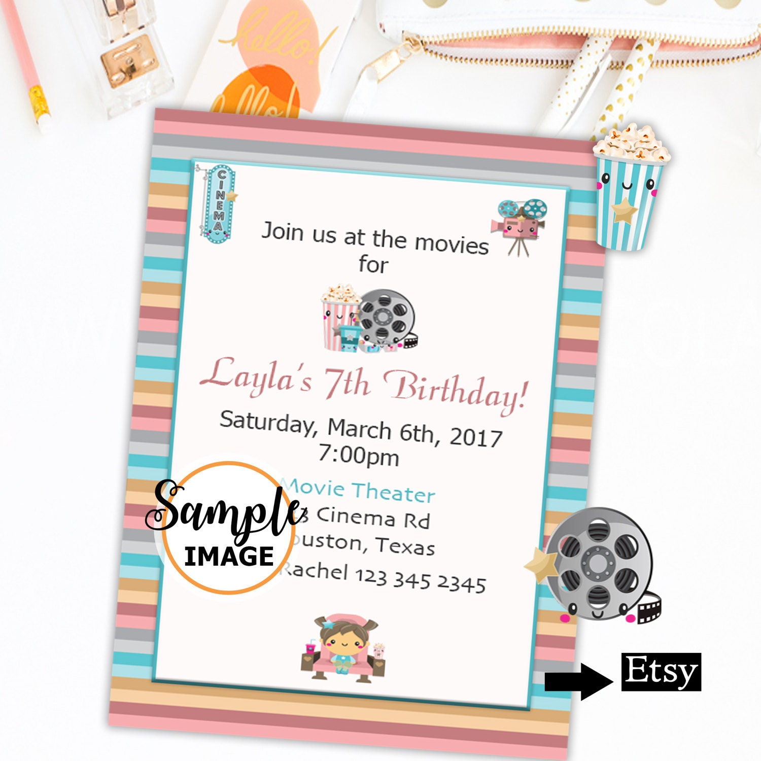 Movie Night Birthday Invitation Printable Invites Party | Etsy