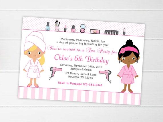 Spa Party Invitation Printable Spa Birthday Party Spa Etsy