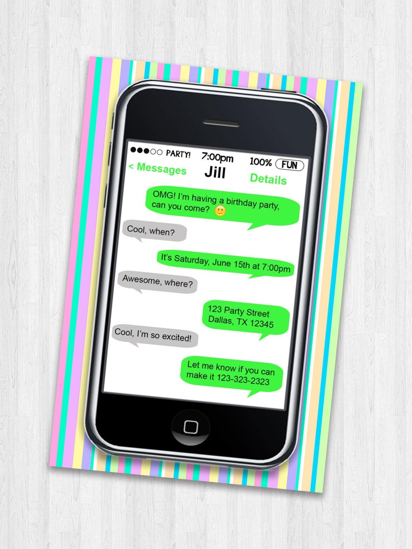 Handy-Party-Einladung Geburtstag Einladung Handy Geburtstag | Etsy
